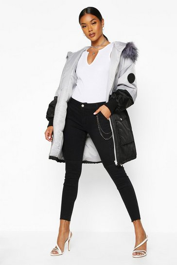 Womens Grey Colour Block Faux Fur Trim Parka