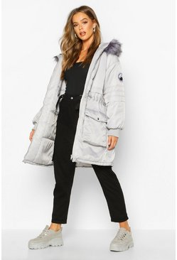 Womens Grey Faux Fur Trim Oversized Parka