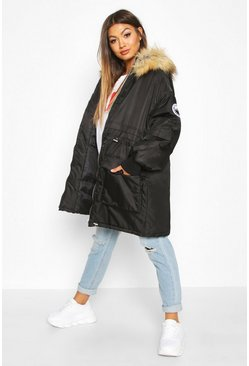 Womens Black Faux Fur Trim Oversized Parka