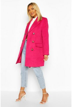 Womens Magenta Double Breasted Wool Look Coat