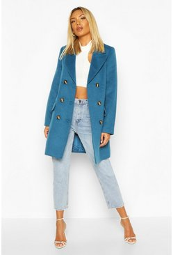Blue Double Breasted Wool Look Coat