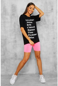 Womens Black Disney Licence Print Oversized Tee