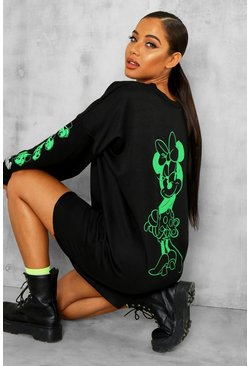 Robe sweat Minnie Mouse fluo Disney officiel, Noir, Femme