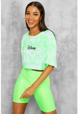 Womens Neon-lime Disney Licence Cropped T-Shirt