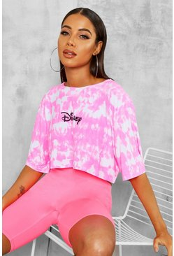 Womens Neon-pink Disney Licence Cropped T-Shirt