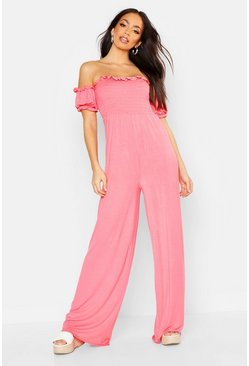 Coral Shirred Balloon Sleeve Jumpsuit