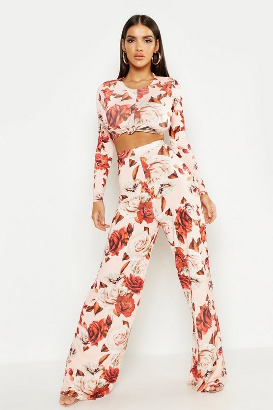 Womens Blush Large Floral Wide Leg Pants