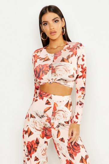 Womens Blush Large Floral Knot Front Crop