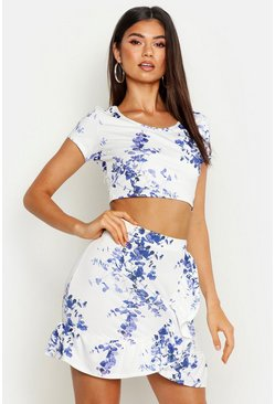 Womens Recycled Blue Floral Crop Top