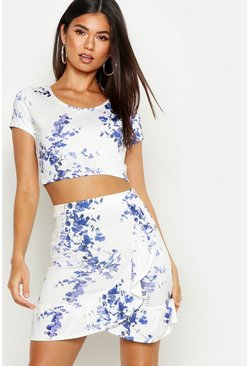 Womens Recycled Blue Floral Frill Front Mini Skirt
