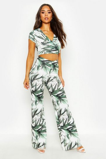 Womens Recycled Green Leaf Wide Legged Trouser