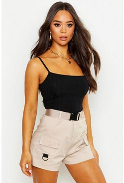 Womens Black Recycled Chunky Rib Crop Top