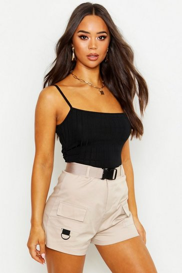Black Recycled Chunky Rib Crop Top