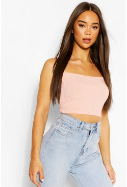 Coral pink Recycled Chunky Rib Crop Top