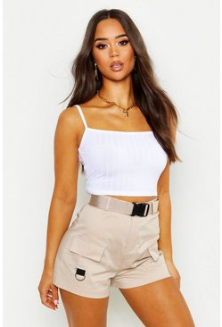 White Ribbad crop top i återvunnet material