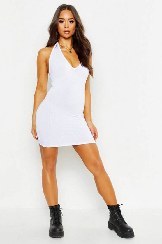 Womens White Recycled Chunky Rib Halterneck Dress
