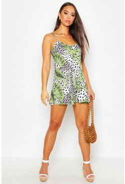 Womens Ivory Leopard Palm Swing Playsuit