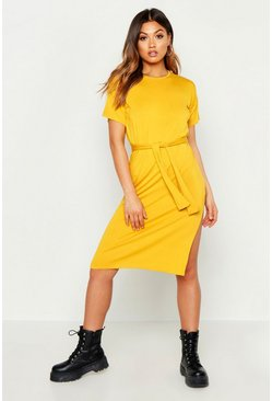 Womens Mustard Belted Split Midi T Shirt Dress