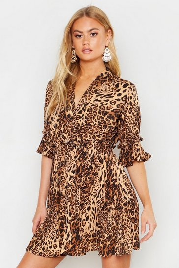 Womens Brown Leopard Print Pleated Frill Smock Dress