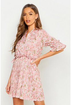 Pink Floral Print Pleated Frill Smock Dress