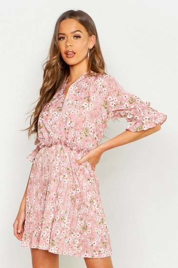 Womens Floral Print Pleated Frill Smock Dress