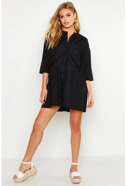 Womens Black Woven Button Through Smock Dress
