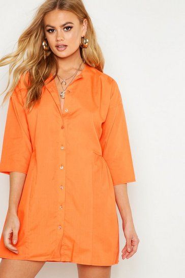 Womens Orange Woven Button Through Smock Dress