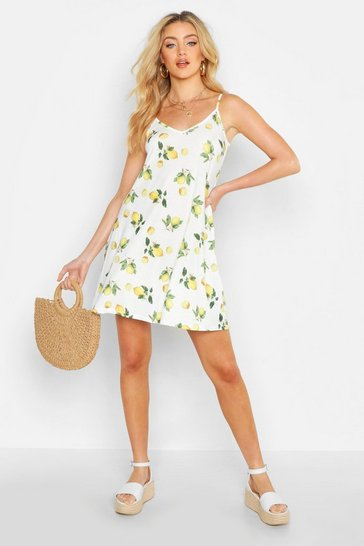 Womens White Lemon Print Strappy Swing Dress