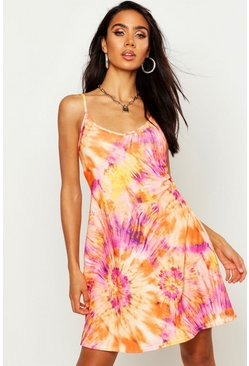 Womens Orange Tie Dye Strappy Swing Dress