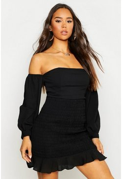 Black Shirred Long Sleeve Crinkle Bodycon Mini Dress