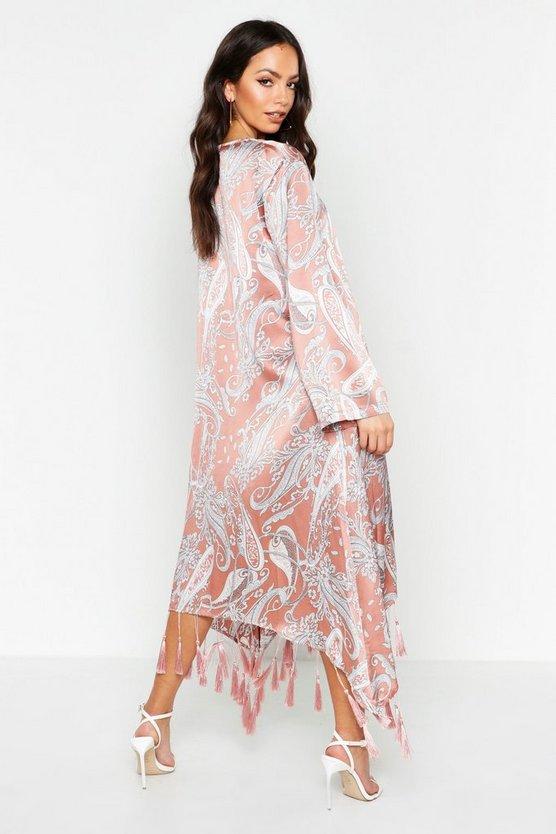 Paisley Tassel Hem Kimono by Boohoo