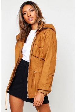 Womens Camel Hooded Utility Jacket