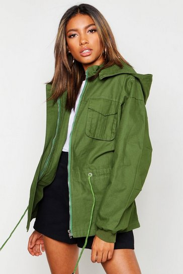 Womens Khaki Hooded Utility Jacket