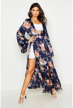 Womens Navy Side Split Belted Floral Kimono
