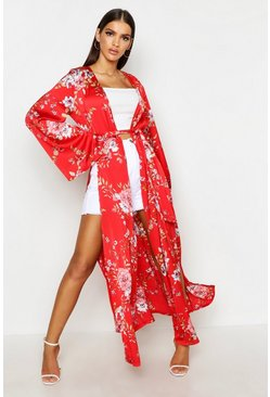 Womens Red Side Split Belted Floral Kimono
