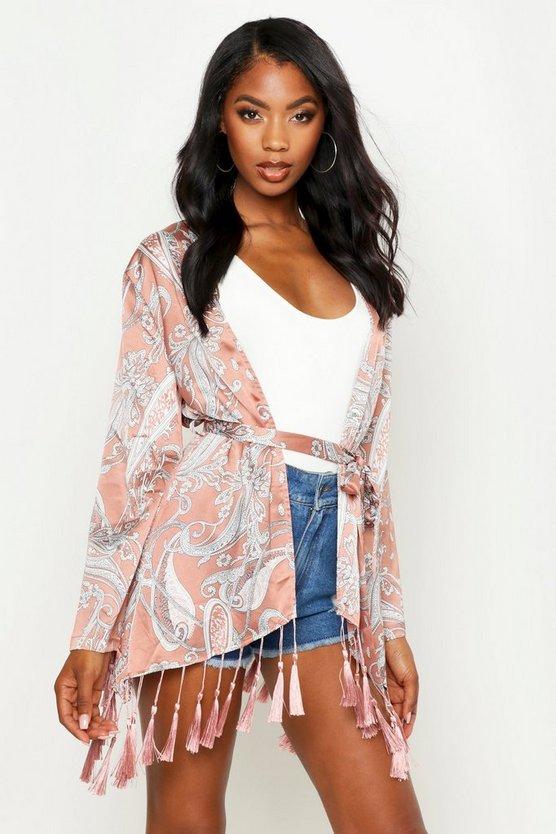 Paisley Tassel Hem Belted Kimono by Boohoo
