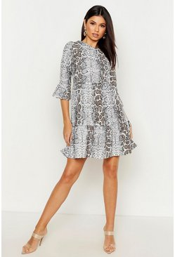 Womens Grey Snake Print Ruffle Sleeve Smock Dress