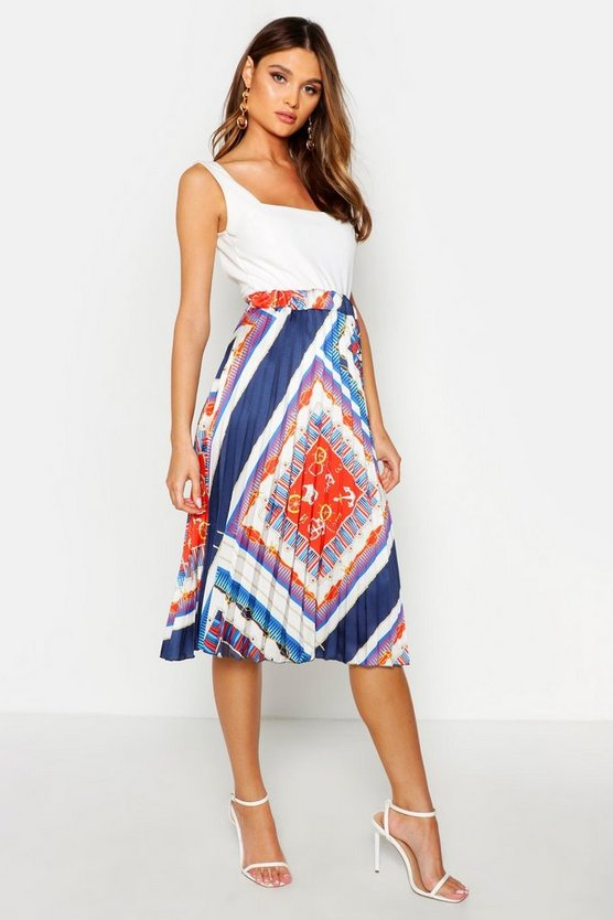 Navy Chain Print Pleated Satin Midi Skirt