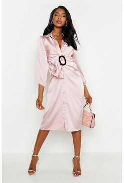 Womens Rose Buckle Detail Midi Shirt Dress