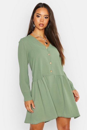 Womens Sage Shirt Smock Dress