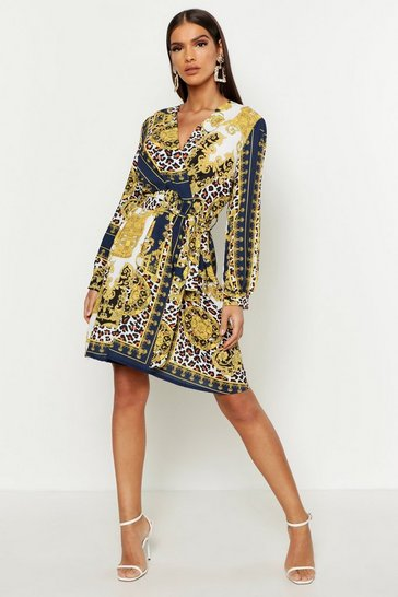 Womens Teal Animal & Chain Print Wrap Dress
