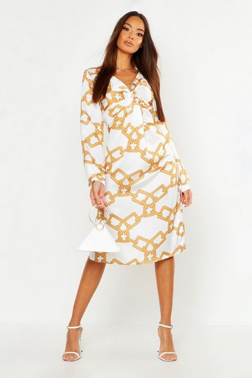 Womens Ivory Chain Print Wrap Midi Dress