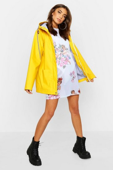 Womens Yellow PU Coated Hooded Rain Mac