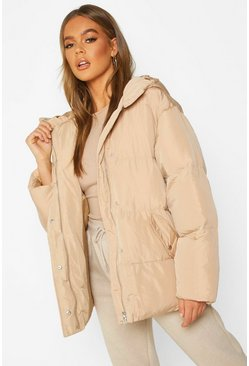 Womens Caramel Oversized Hooded Puffer