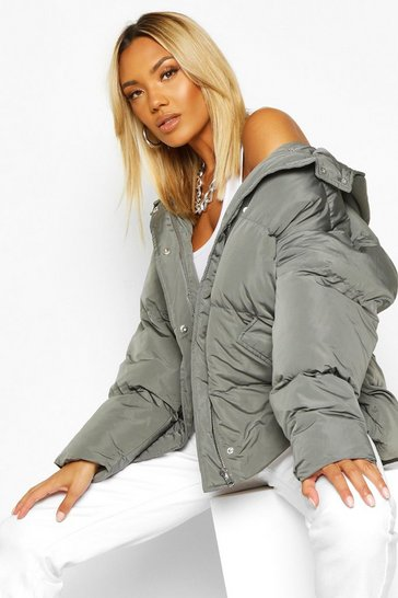 Womens Charcoal Oversized Hooded Puffer