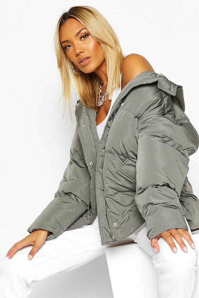 Oversized Puffer Jacke mit Kapuze | boohoo