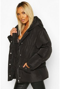 Womens Black Oversized Hooded Puffer