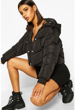 Womens Black Cropped Panelled Hooded Puffer