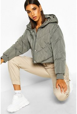 Womens Charcoal Cropped Panelled Hooded Puffer