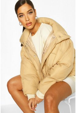 Camel Oversized Funnel Neck Puffer